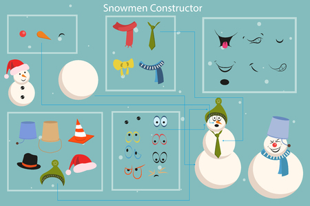 Snowman builder template vector