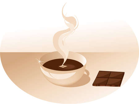 vector illustration - cup seat and a piece of chocolate Stock Vector - 2456624