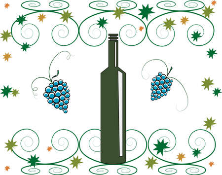 vector illustration-shaped bottle of wine, and a bunch of grapes Vector