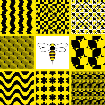 8 Seamless vector wallpaper - black and yellow