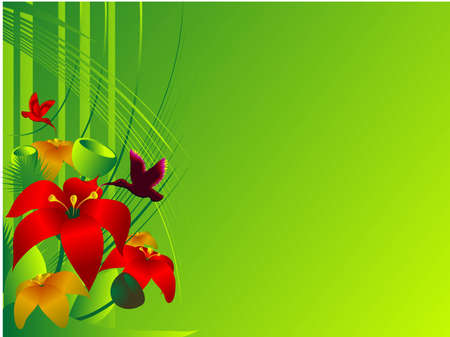 pollination: vector illustration - the tropical paradise