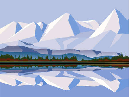 river vector: vector illustration - snow mountain tops. by the lake