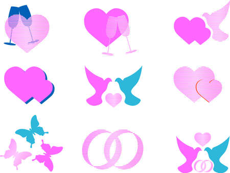 vector illustration - collection wedding icons Stock Vector - 3677542