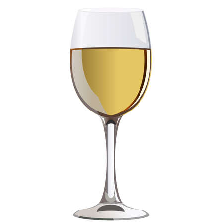 a glass of white wine Illustration