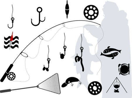 a set of elements on fishing Illustration