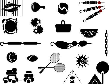 a set of elements on picnic Vector