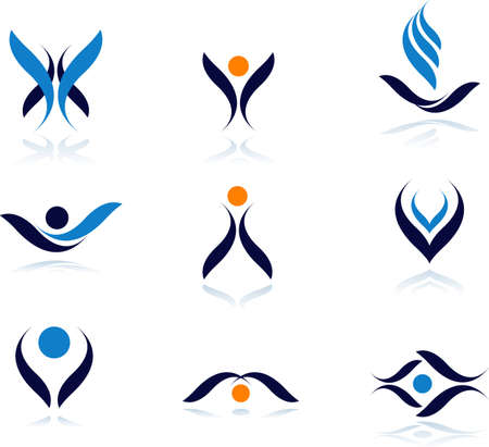 leaf logo: Set of vector symbols for design.See a lot of high-quality vector logo in my portfolio Illustration