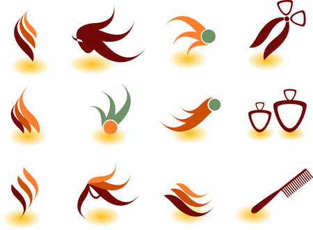 beautician: Set of vector symbols for design.See a lot of high-quality vector logo in my portfolio Illustration