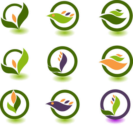 leaf logo: set of logos - nature