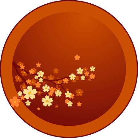 Vector decoration - Oriental cherry tree