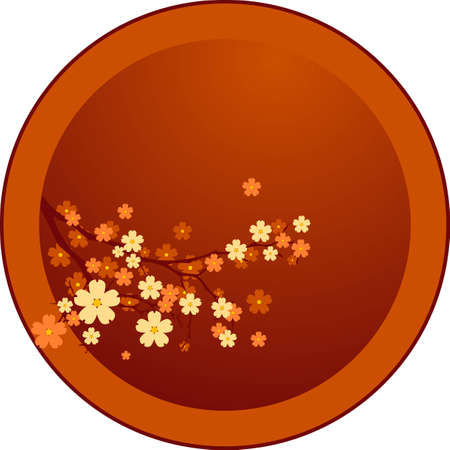japanese garden: Vector decoration - Oriental cherry tree