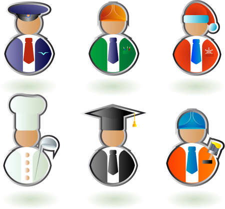 A set of vector characters of different professions: driver, cook, engineer, painter, Santa, professor Stock Vector - 4711825