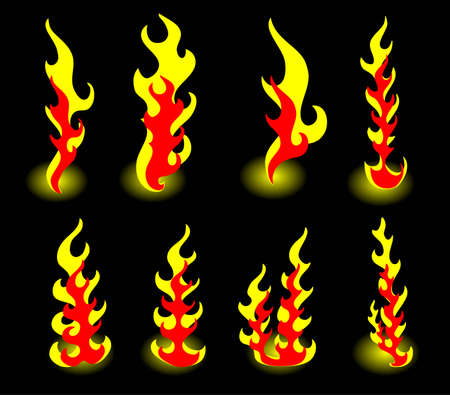 wildfire: 8 flames of fire on a black background Illustration