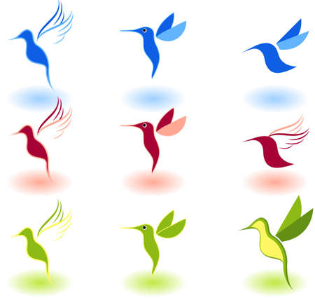 Vector illustration of birds - icon set number 0