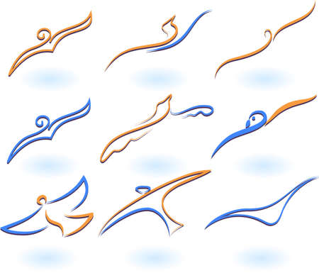 golondrinas: Ilustraci�n vectorial de aves - icono n�mero 7 Vectores