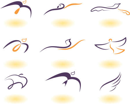 Vector illustratie van vogels - icon set nummer 6