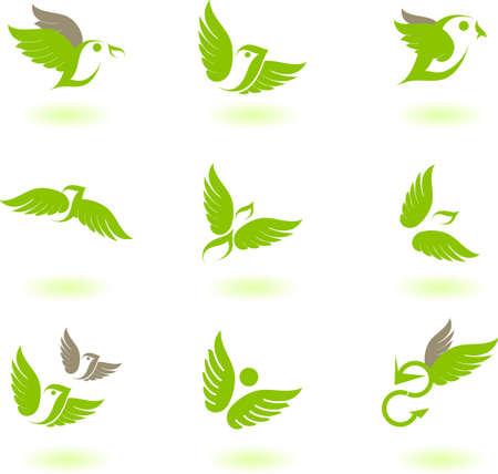 Illustrazione vettoriale di uccelli - icona serie numero 4 Vettoriali