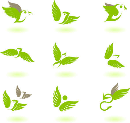 sparrow: Vector illustration of birds - icon set number 4