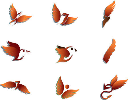 sparrow: Vector illustration of birds - icon set number 3