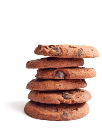 A stack of cookies lies on a white background