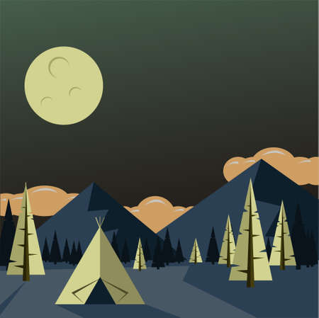 The tent stands among the mountains