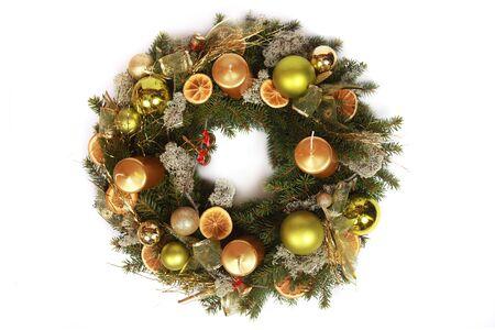 beautiful advent wreath isolated on white photo