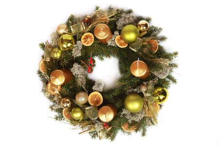 adventskranz: beautiful advent wreath isolated on white
