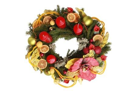 adventskranz: interesting advent wreath isolated on white