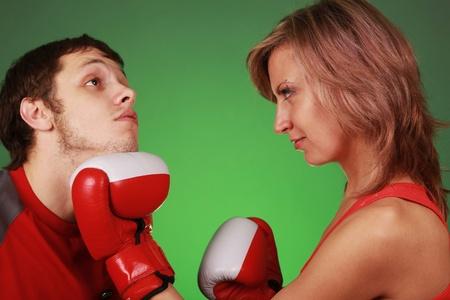 woman hiting man on face Standard-Bild