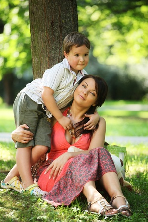 young mother with son in park Stock Photo - 8579416