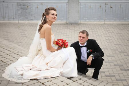 beautiful couple on a walk after marriage photo