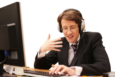 young operator talking thru the internet Stock Photo - 8804098