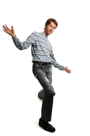 funny young tall man isolated on white 스톡 콘텐츠