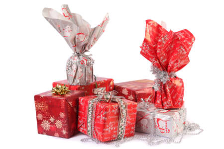 christmas gifts isolated on white photo