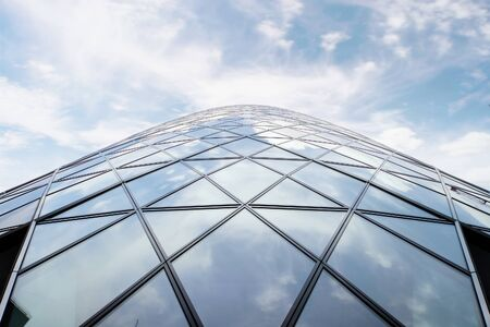 abstract london: wide angle shot of glass skyscraper
