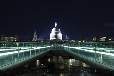 night picture of st.Paul's Cathedral and Millenium bridge photo