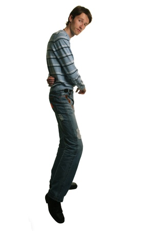 skinny people: tall man dancing salsa on white Stock Photo