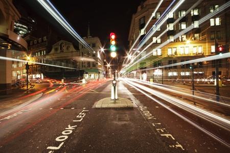 stop and go light: traffic lights in the center of London at night