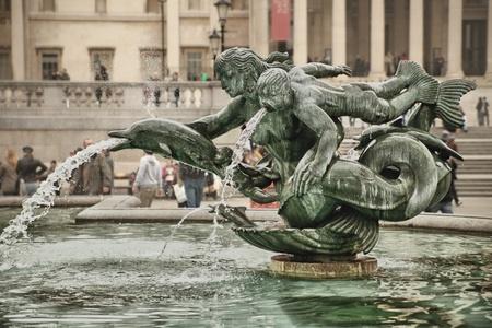 beautiful fountain situated on Trafalgar Square