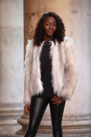 beautiful black model posing outdoors Standard-Bild
