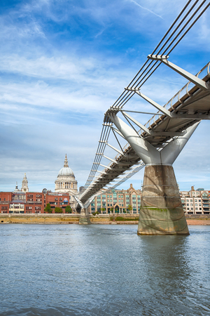 Millennium bridge leading the viewers eye to Saint Paul's cathedral