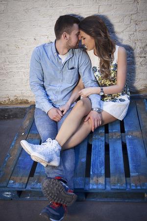 lovely couple over grungy background Standard-Bild