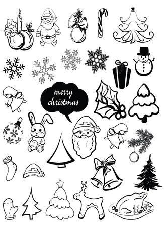New Year s, Christmas elements, santa, a deer, a sugar candy, caramel, a sweet, a fir-tree, a snowflake, etc