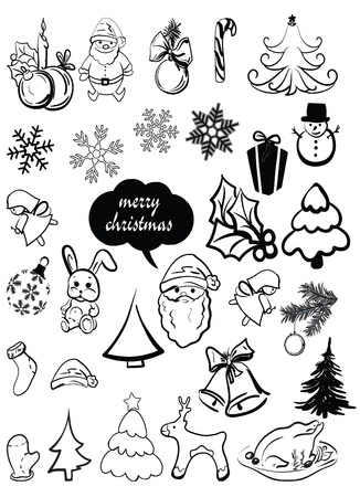 New Year s, Christmas elements, santa, a deer, a sugar candy, caramel, a sweet, a fir-tree, a snowflake, etc  Vector