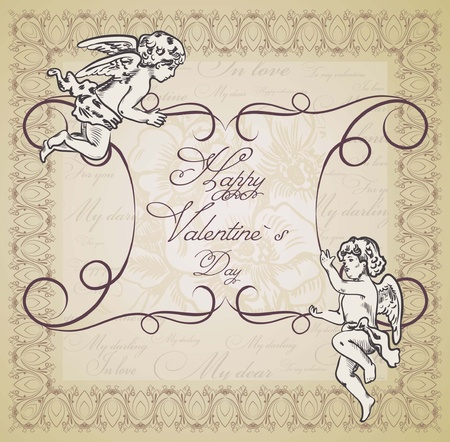 The vintage background with the frame and angels Vector