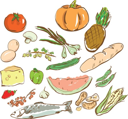Vectorial dial-up of various foodstuff and kitchen subjects Vector
