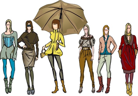 Girls-models dressed in different clothes Vector