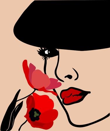 femme masqu�e: Arri�re-plan avec un visage de femme s dans un chapeau et fleurs