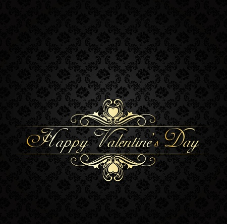 golden damask background with vintage frame Happy Valentine's day Stock Vector - 12496875