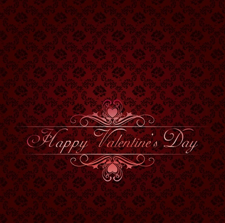 boxing day: red damask background with vintage frame Happy Valentines day Illustration